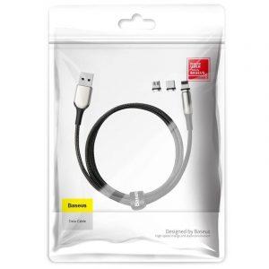 Kabel magnetyczny USB-C, Micro USB, Lightning Baseus Zinc 2A 1m CZARNY