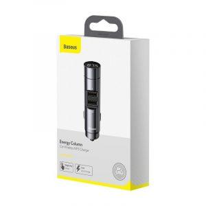 Transmiter FM Baseus Energy Column, Bluetooth 5.0, 2x USB, 3.1A SZARY