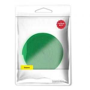 Taśma rzepowa, organizer kabli Baseus Rainbow Circle Velcro Straps 3m ZIELONY