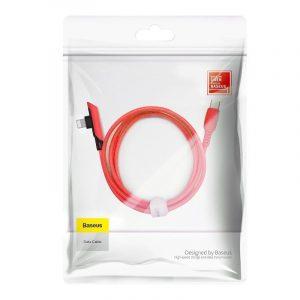 Kabel kątowy USB-C do Lightning Baseus Colourful, PD, 18W, 1.2m CZERWONY