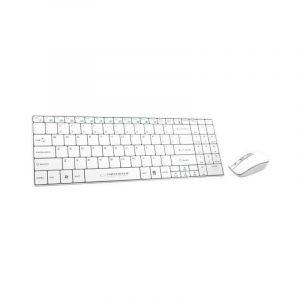 Cienka i wygodna, klawiatura bezprzewodowa, czarna i biała. Esperanza SLIM + Mysz EK122W USB | 2.4 GHz