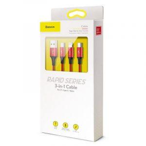 Kabel USB Baseus Rapid 3w1 Typ C / Lightning / Micro 3A 1,2M CZERWONY